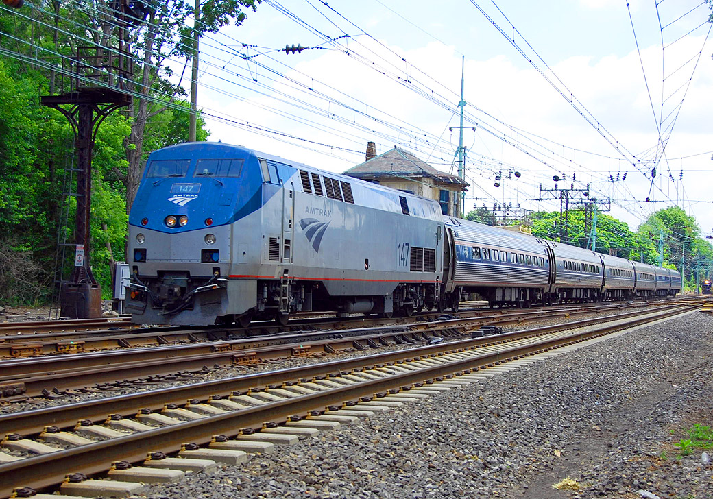 The Amtrak Pennsylvanian, which runs on the NEC and the Keystone Corridor