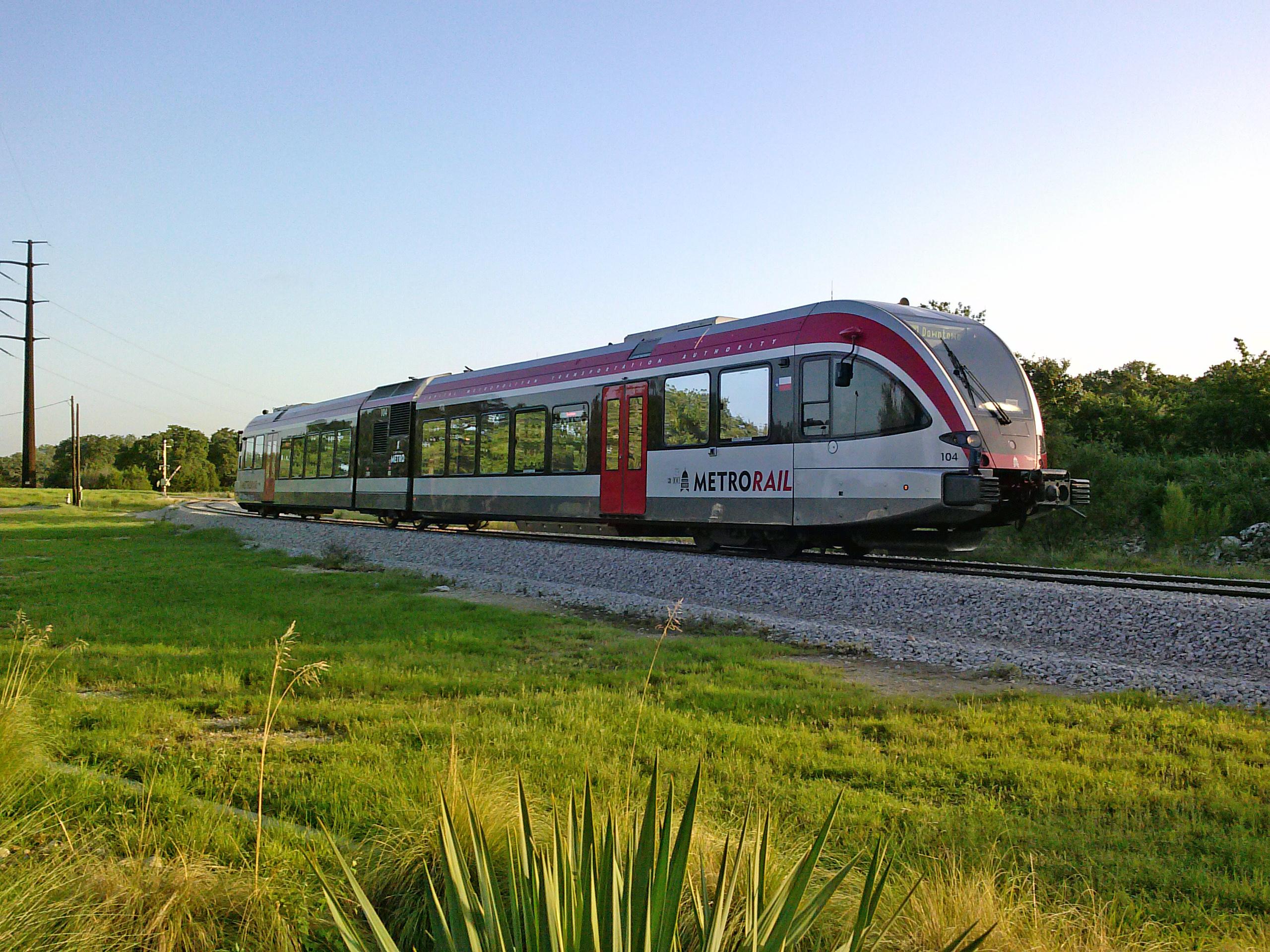A Stadler GTW diesel-electric light rail vehicle on Austin's Red Line