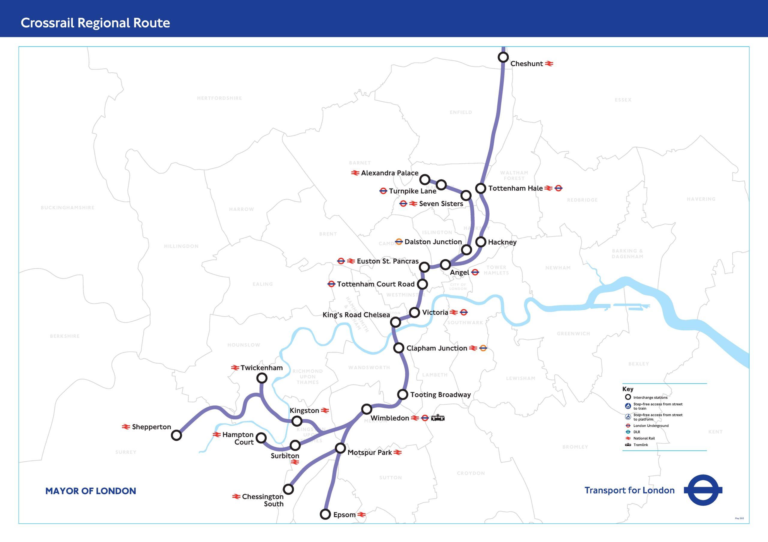 Crossrail 2 route through London