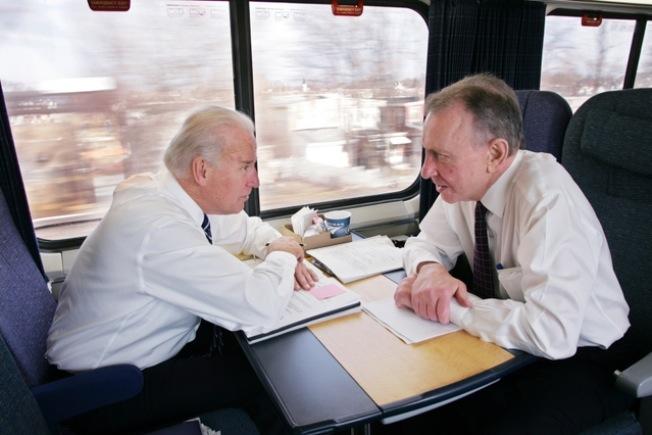 Joe Biden on the Amtrak Acela Express in 2009