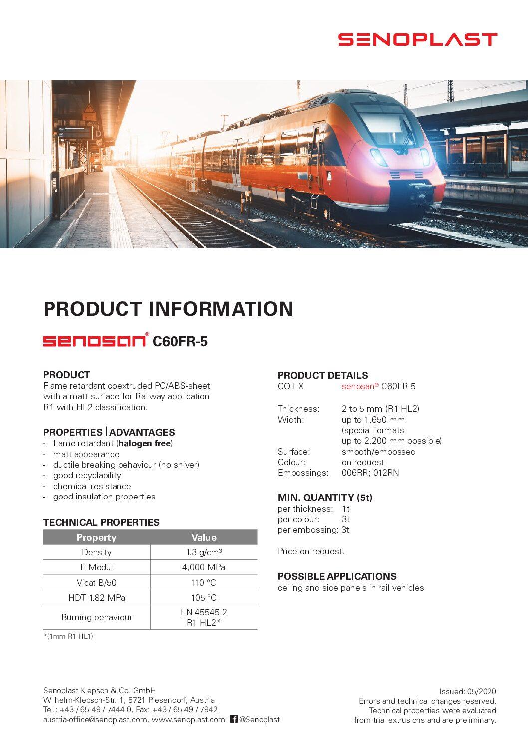 senosan® C60FR-5 for Railway Applications