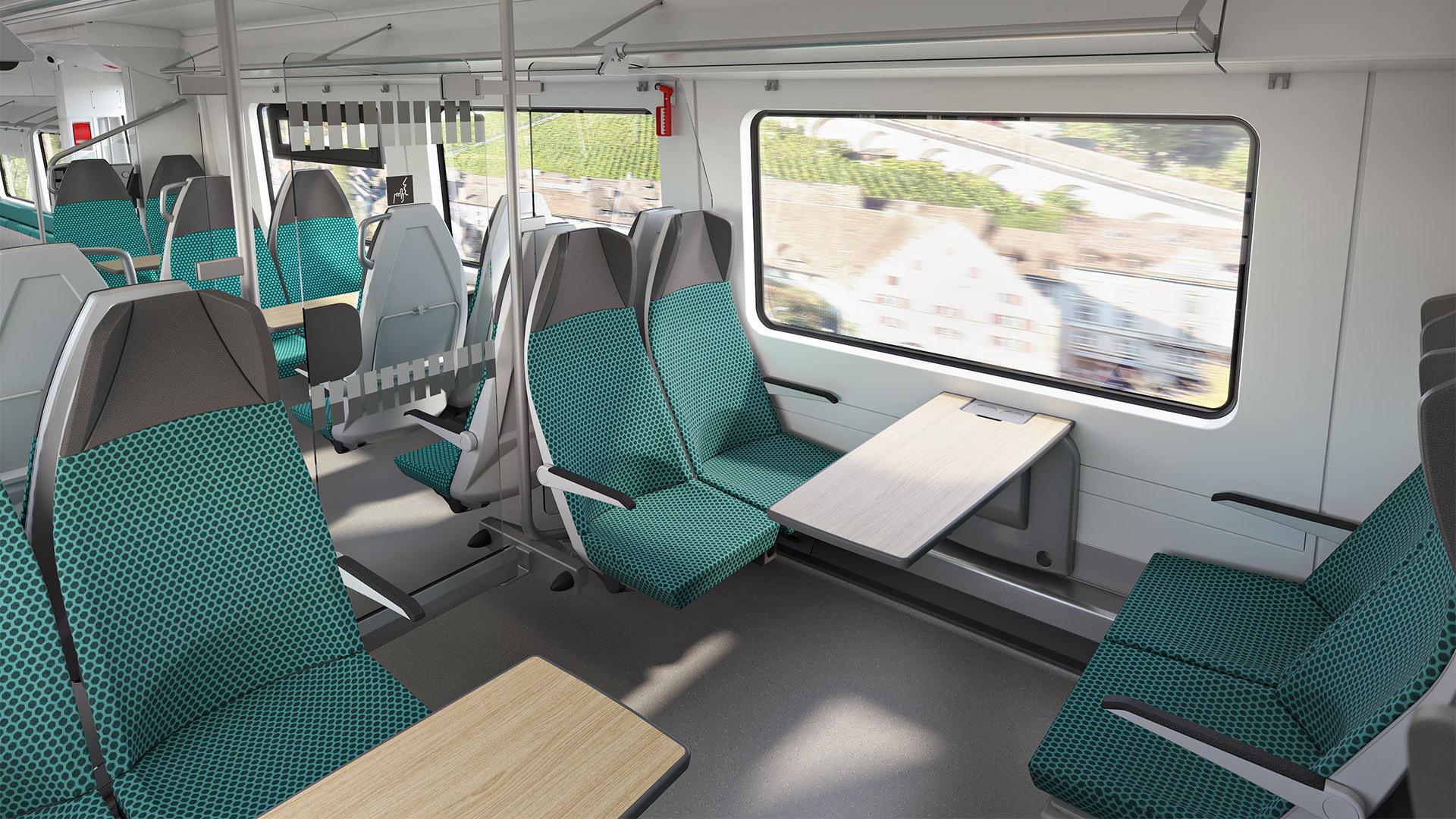 Siemens Mobility Mireo Smart interior seating area