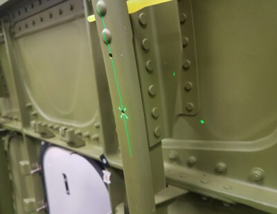 Virtek Vision Drill hole locations using lasers