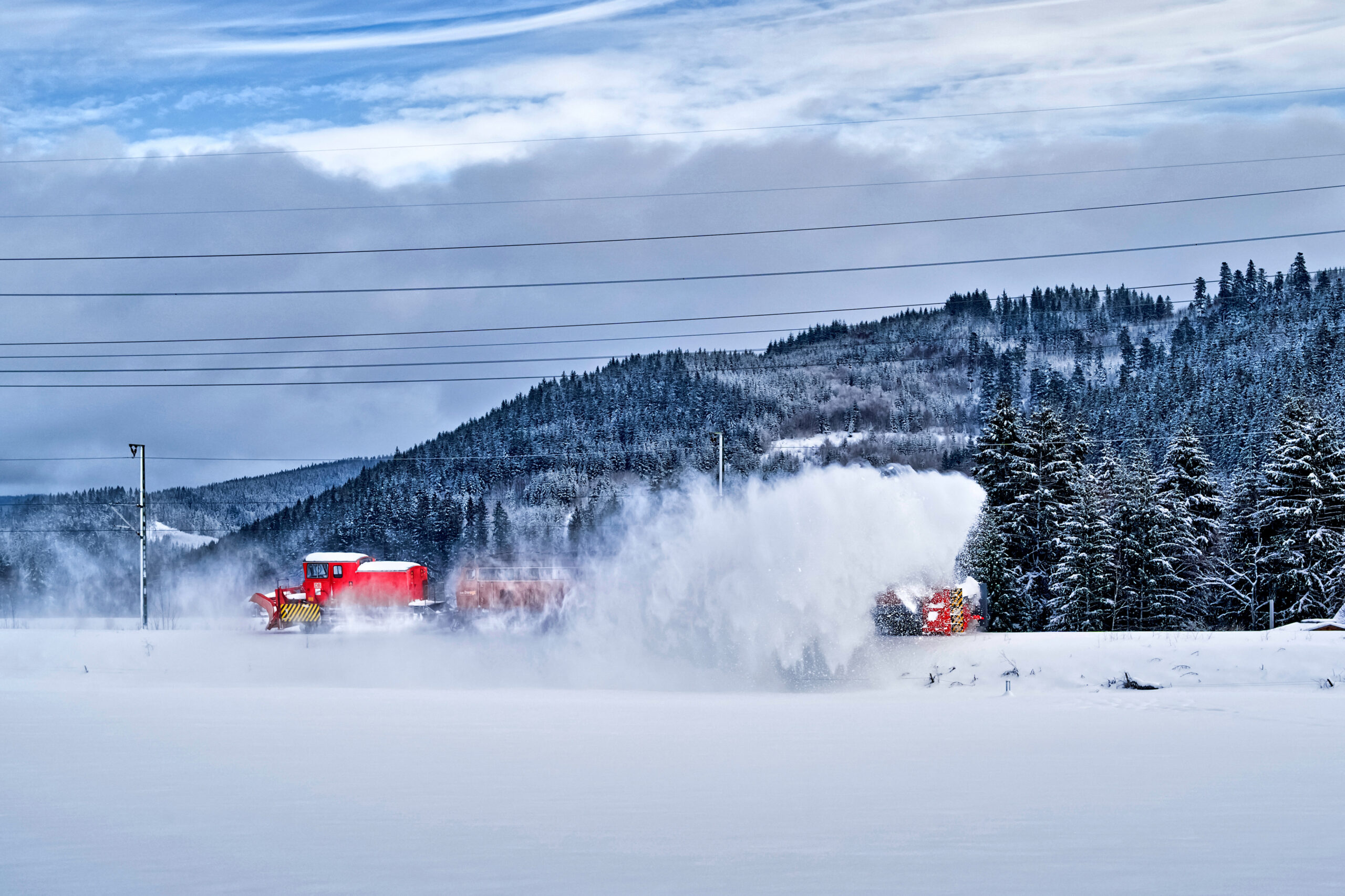 Snow thrower in the Black Forest