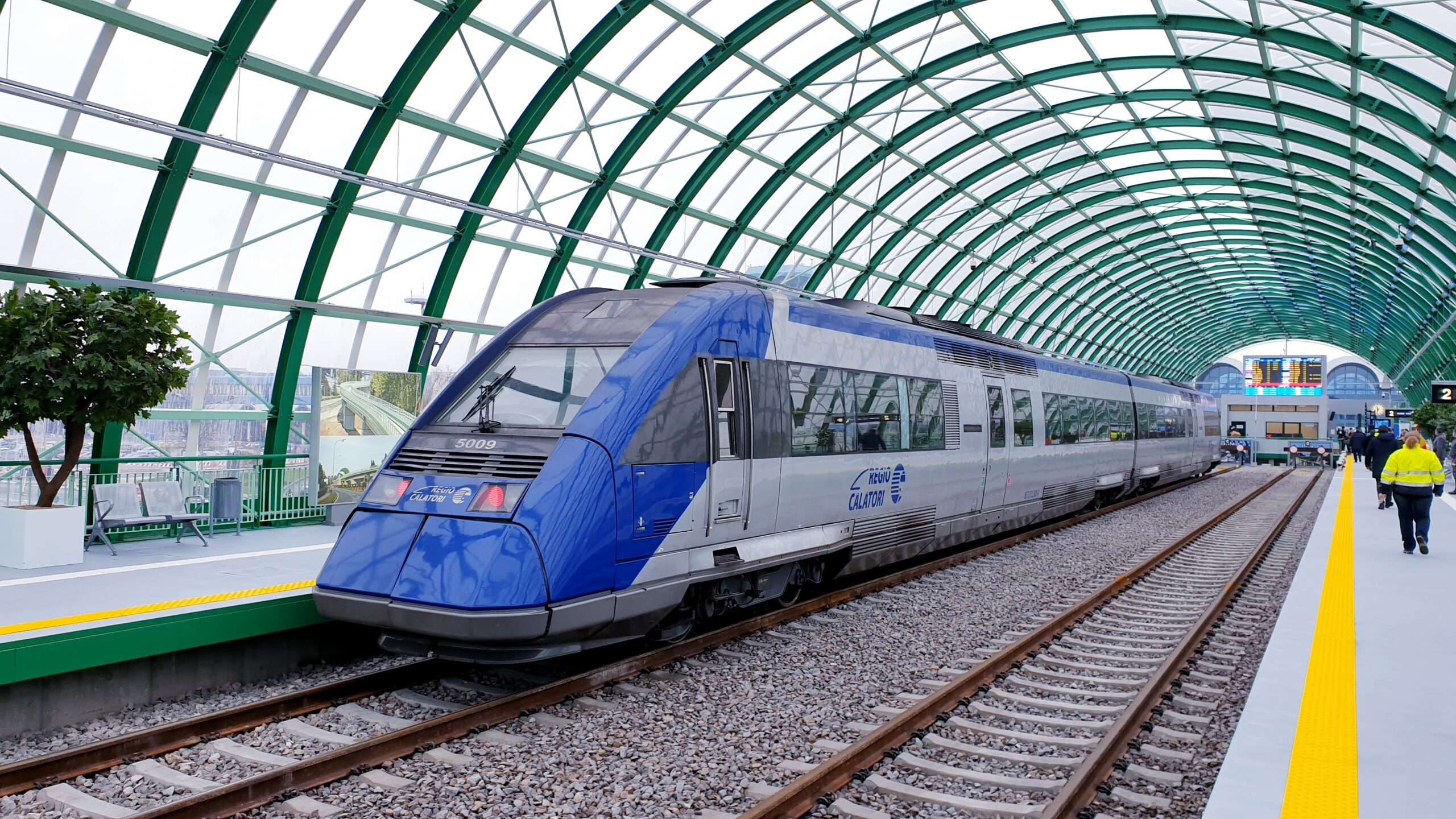 A train at Bucharest's new airport station
