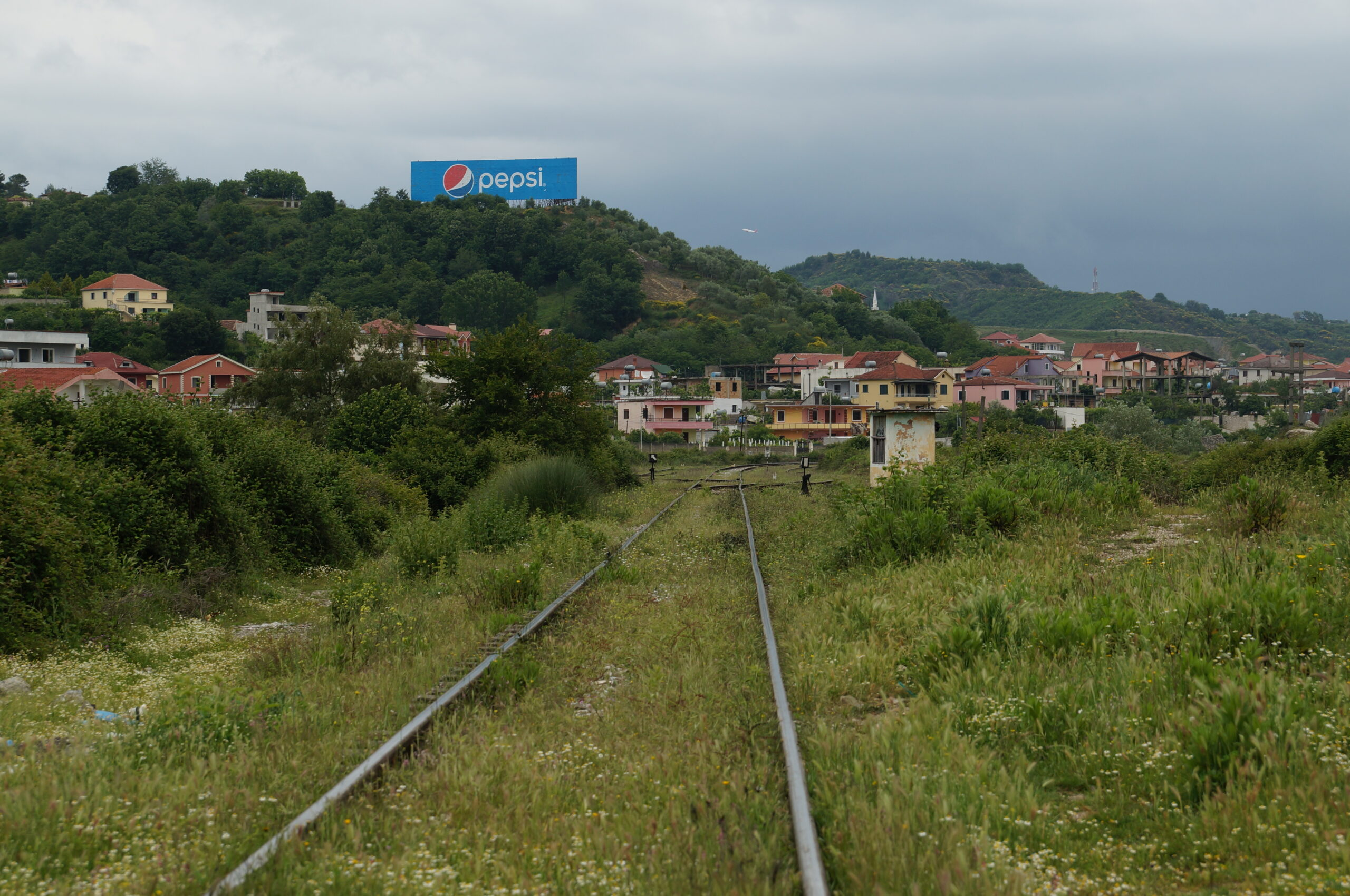 Outside Vora station on the Durrës-Tirana line