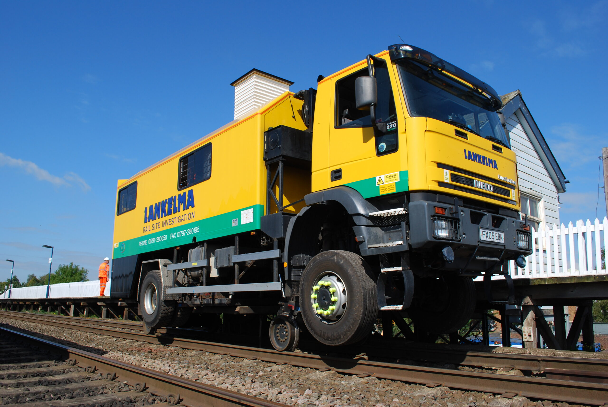 Rail wheels on Lankelma's RRV (UK12) allow travel on track