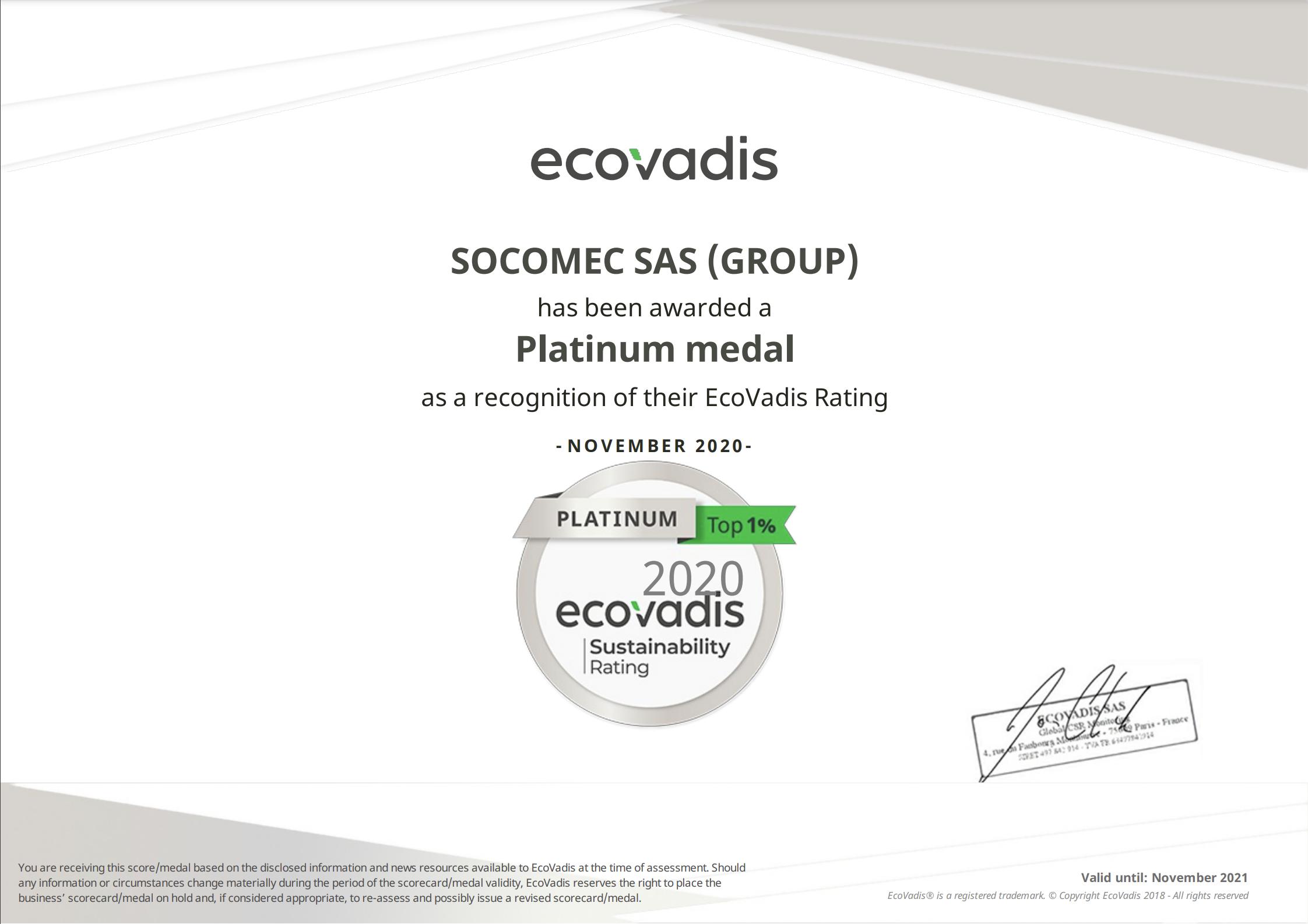 Socomec EcoVadis Certification