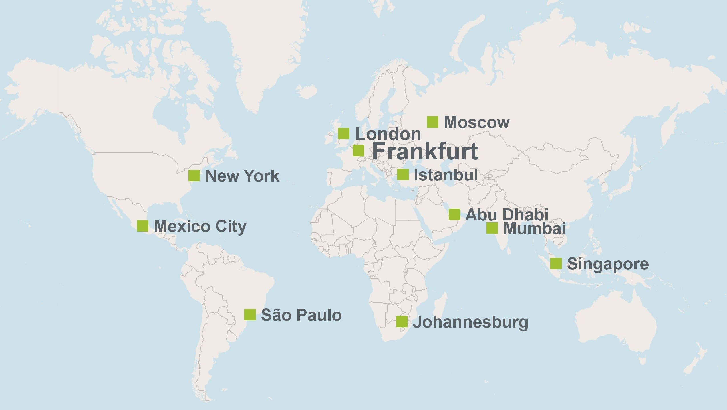 We have offices in the key global financial centres. At our headquarters in Frankfurt am Main we coordinate the activities of our ten offices abroad. Our London branch carries out bank transactions of its own, whereas our nine representative offices focus on initiating financing business. There are both financial experts from Germany and local specialists at all of our offices. In this way we give German and European companies access to the markets of the world.