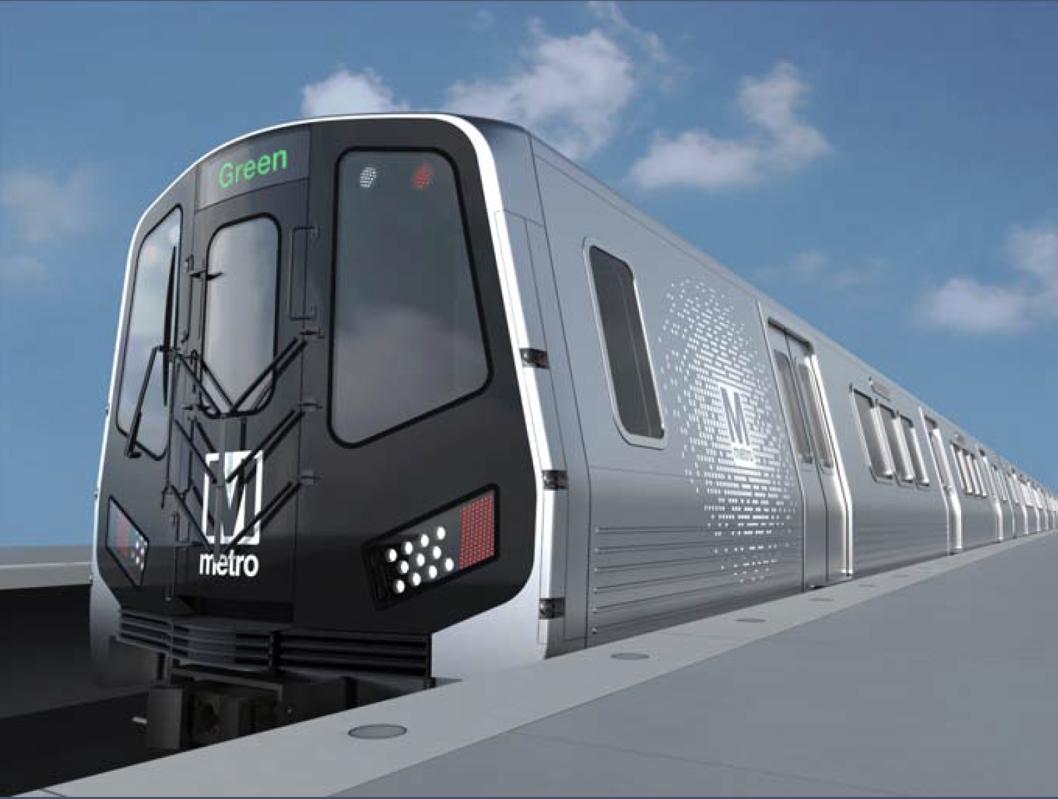Exterior rendering of railcar for Washington Metropolitan Area Transit Authority