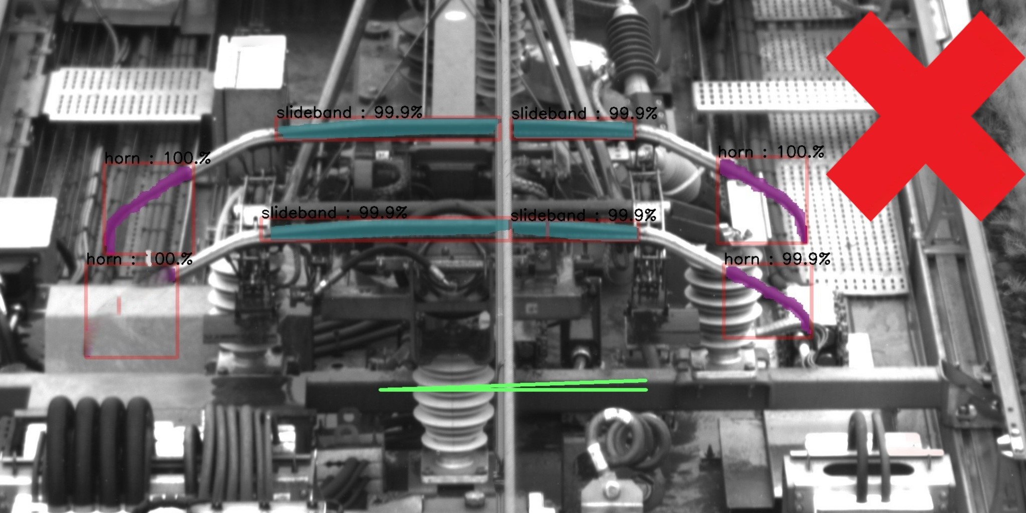 The embedded artificial intelligence coupled with image processing on a deep learning basis monitors the detected pantographs for compliance and locates faults. The process entails locating and detecting the presence of all horns and the location of contact strips. Moreover, it verifies that the pantograph is perpendicular to the train's axis. In this image the state of the pantograph is satisfactory.