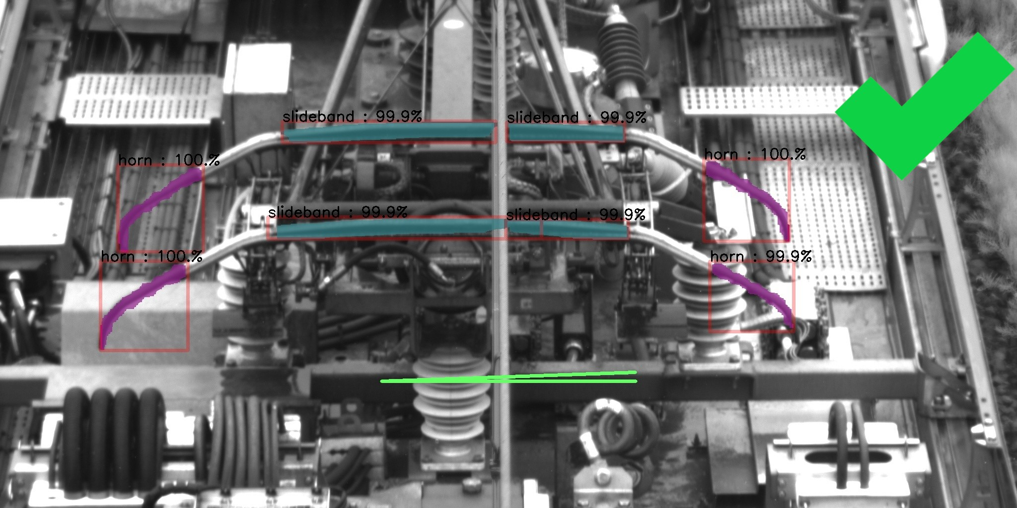 The embedded artificial intelligence monitors the detected pantographs for compliance, if the pantograph is tilted or damaged, the ECS sends the non-compliance alert to the operator in less than 5 min, via the 4G network. It is also possible to add the feature of pantograph counting (raised/lowered). A tilt problem is indicated by red stripes instead of green ones.
