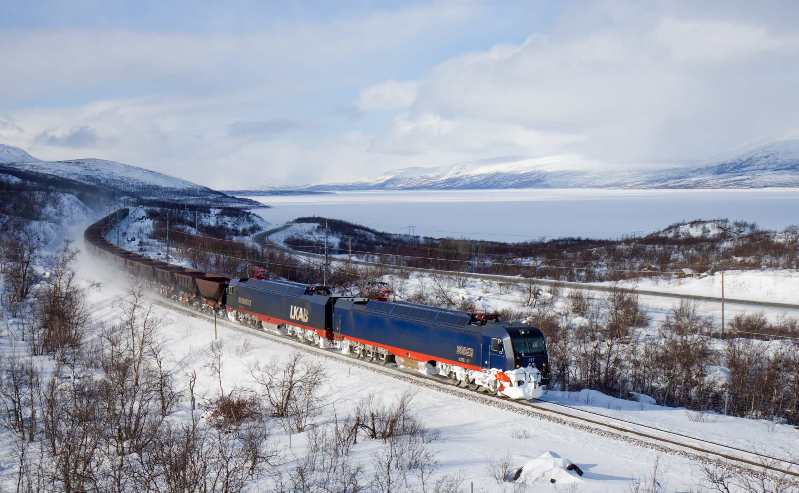 A freight train on the Malmbanen line in Sweden