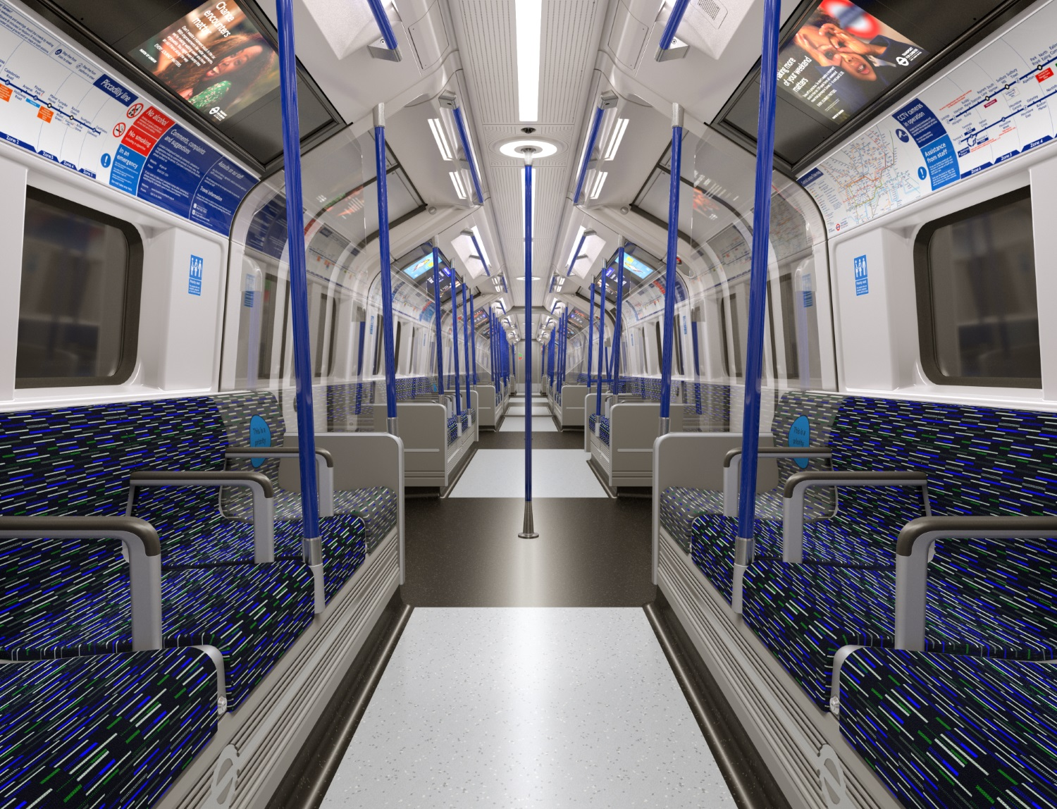 Interior of the new Piccadilly line train