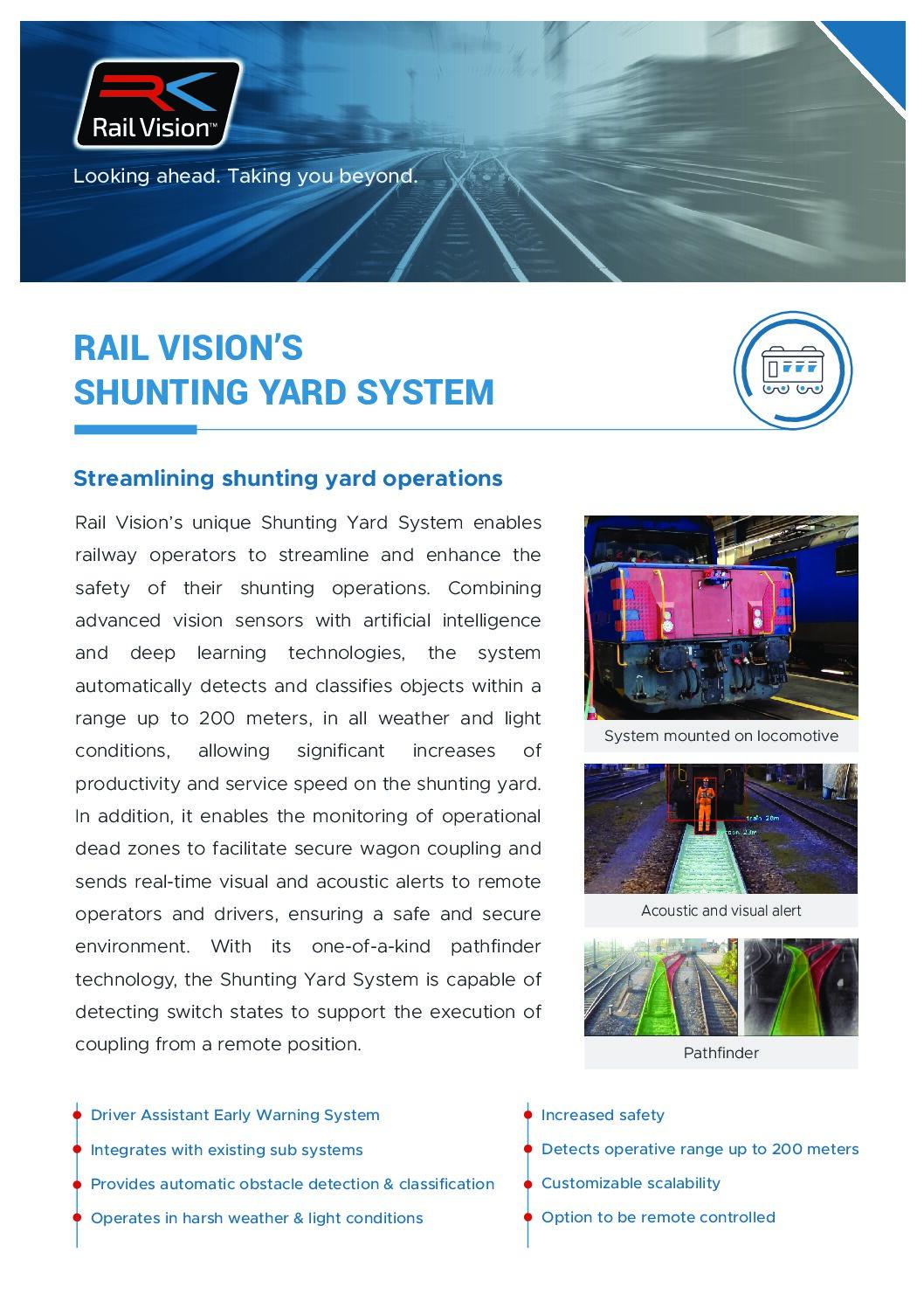 Rail Vision Shunting Yard Fact Sheet