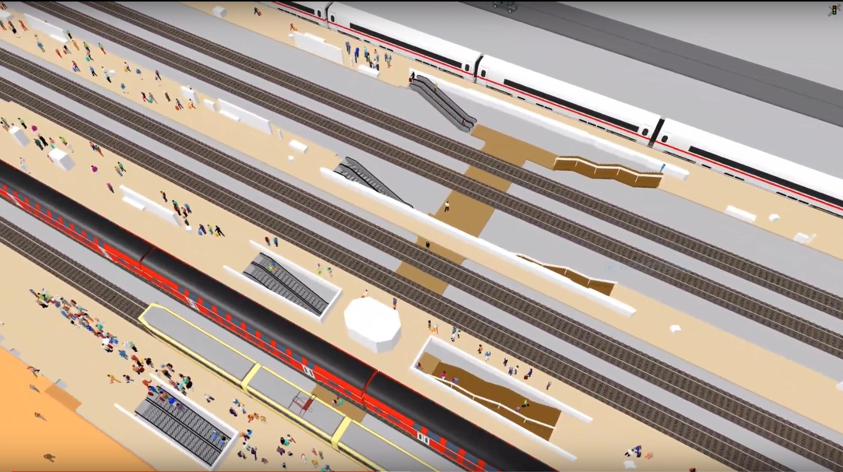 Vissim/Viswalk Rail Station Interchange