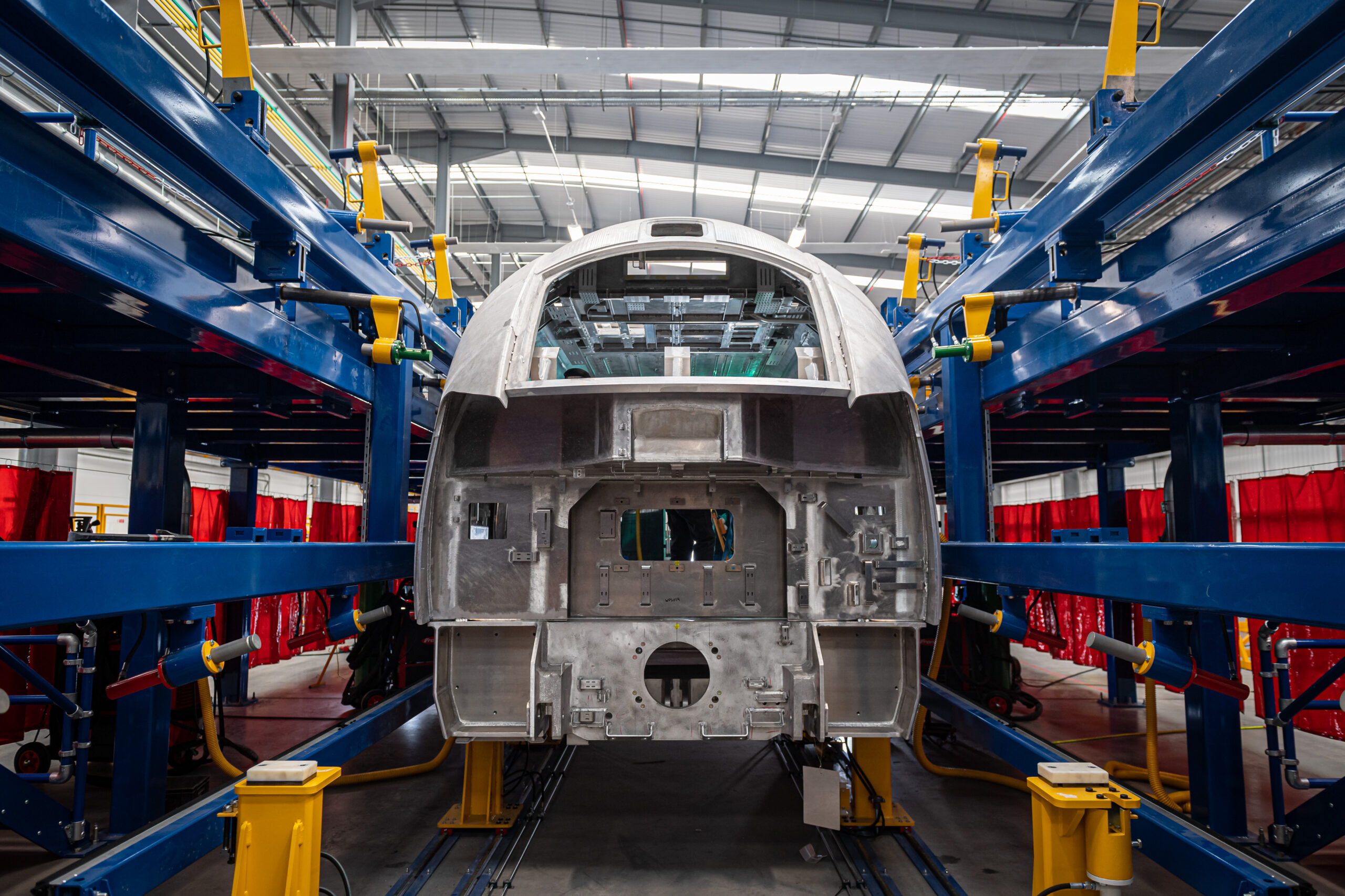 General view of a train shell the Weld Workshop at Hitachi Rail, Newton Aycliffe