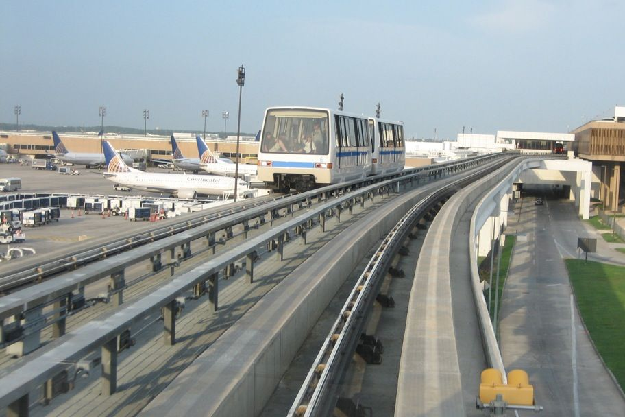 The Skyway automated people mover system at Houston