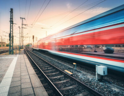 Red High Speed Train in Motion