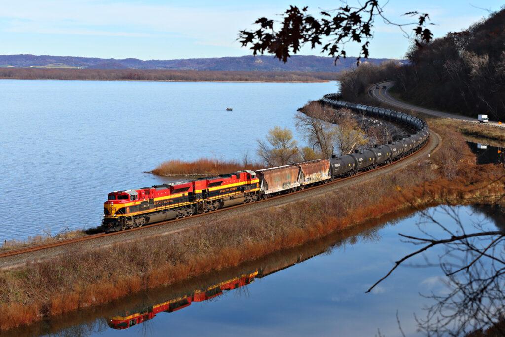 Kansas City Southern locomotive hauls freight cars in Minnesota