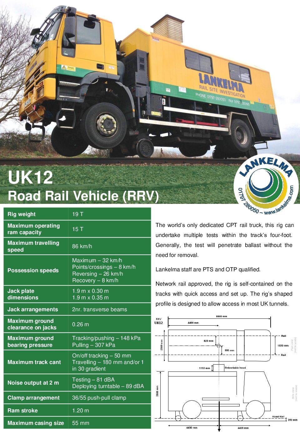Lankelma Road-Rail Vehicle (UK12) Data Sheet