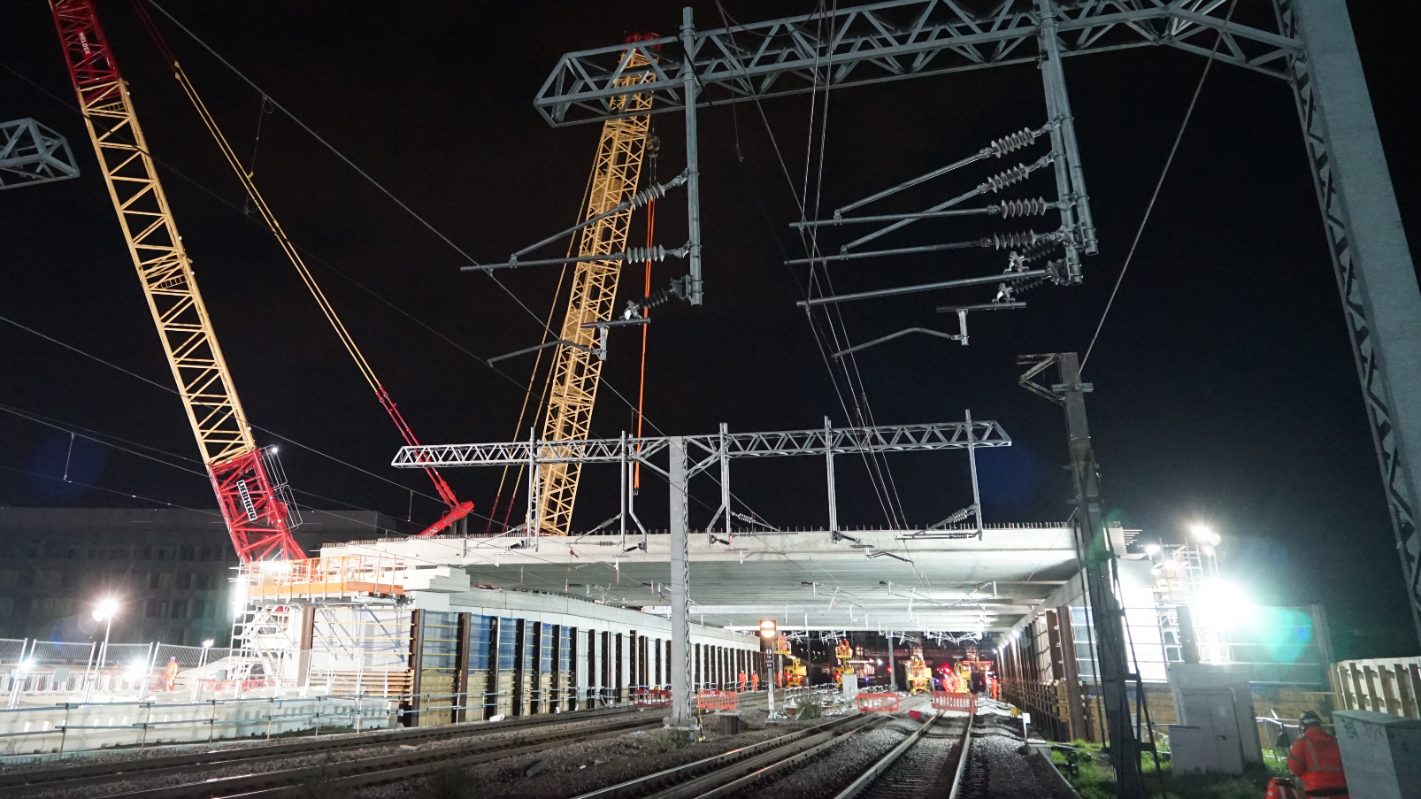 Network Rail Bletchley flyover rebuild early May 2021.