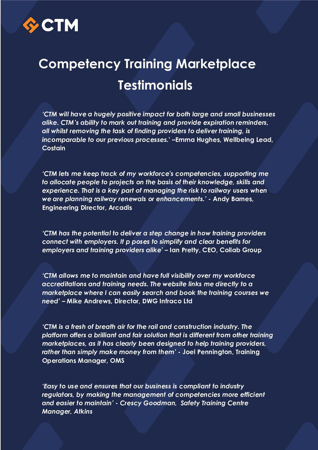 Competency Training Marketplace Testimonials