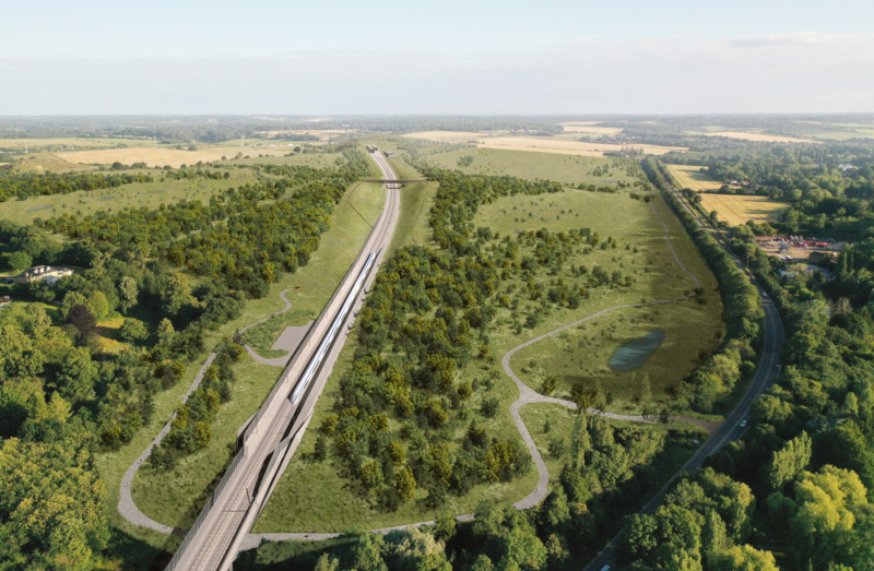Integration of the HS2 rail line within the Colne Valley Western Slopes.