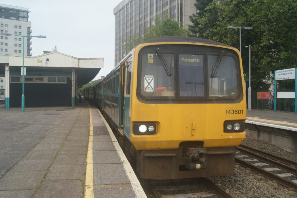 Class 143 Pacer 143601 at Cardiff Queen Street, 28 May 2021