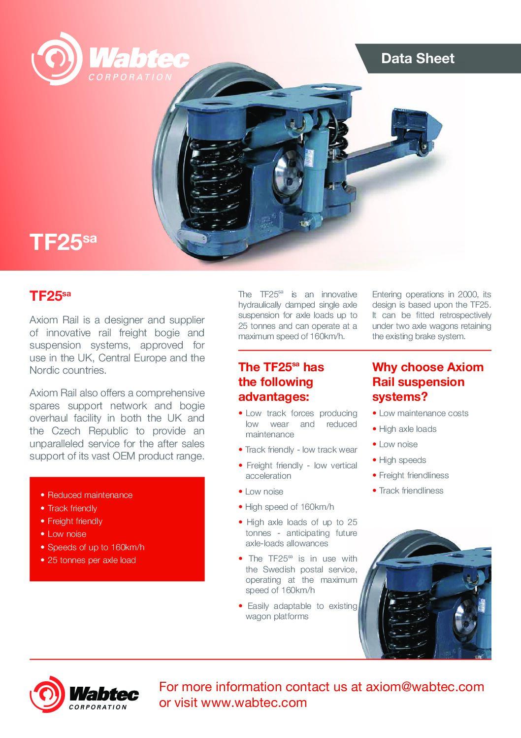 Wabtec Axiom TF25sa Single Axle Suspension