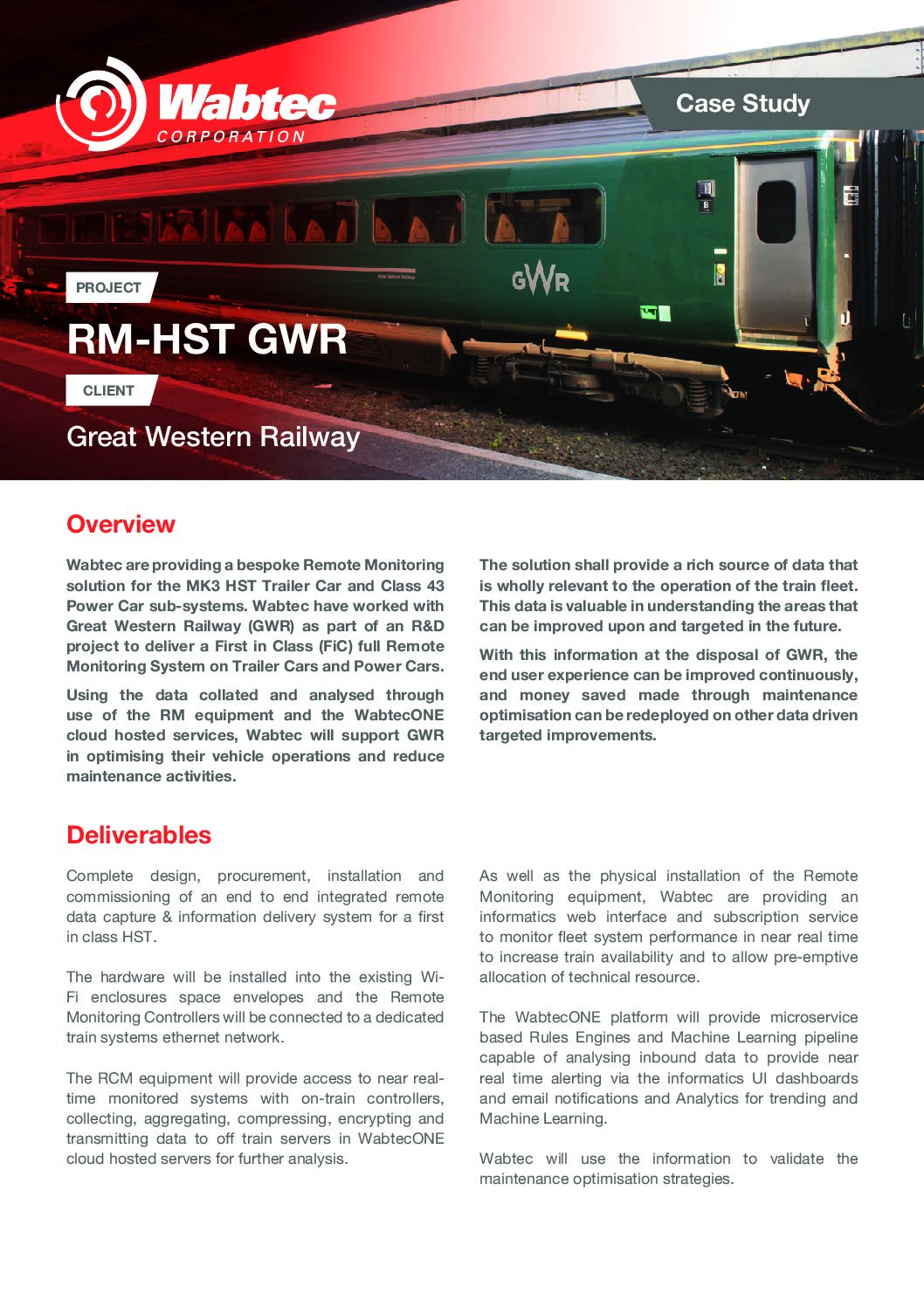 Wabtec RM-HST GWR Case Study