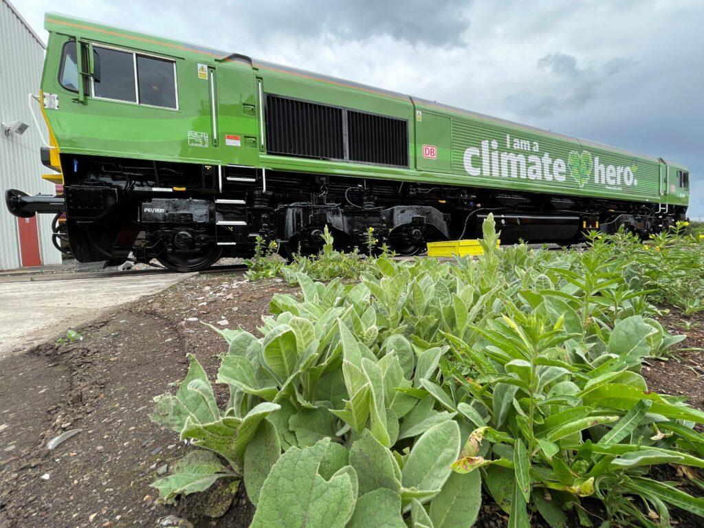 DB Cargo's eco-locomotive called 'I'm A Climate Hero'