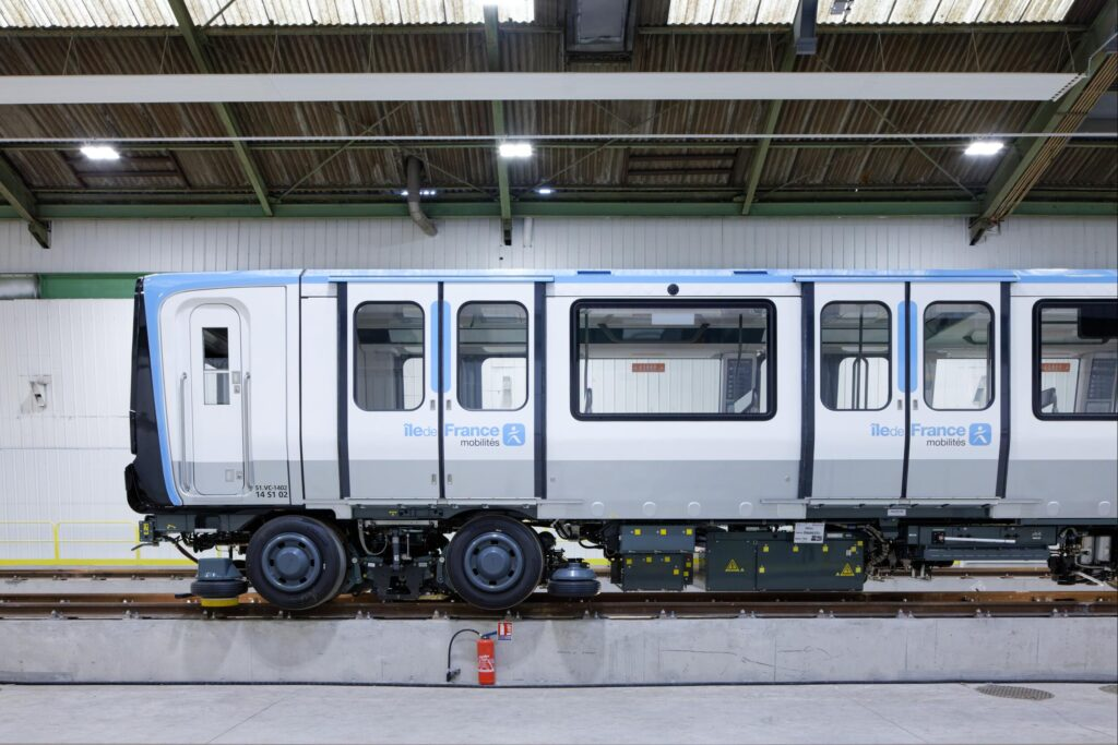 The MP14 metro for line 11 of the Paris metro, at the Alstom factory in Valenciennes Petite Forêt.