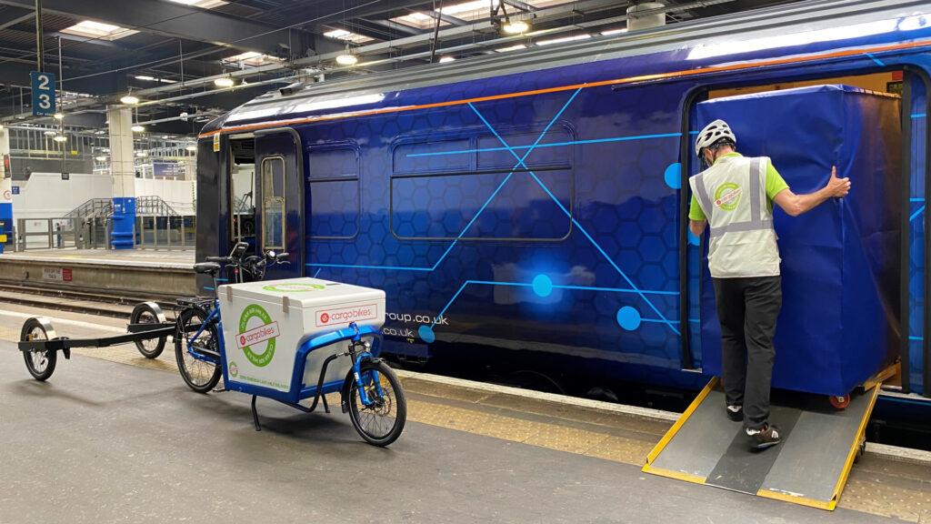 Orion logistics train on test run to Euston station
