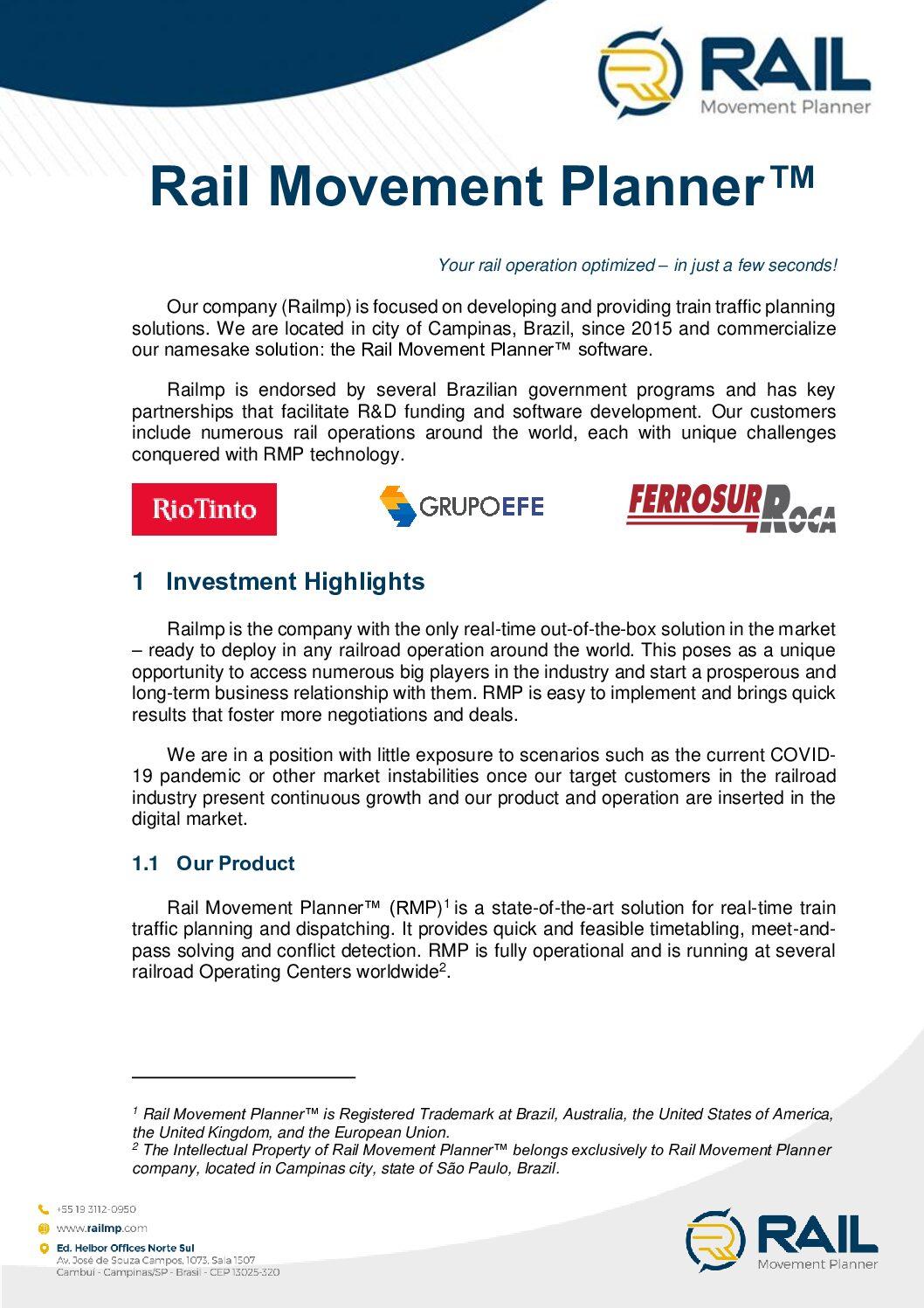Rail Movement Planner™ – Railmp Investment Teaser