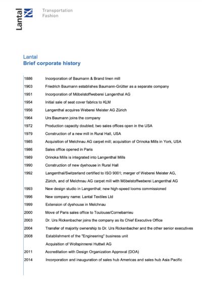 A Brief History of Lantal