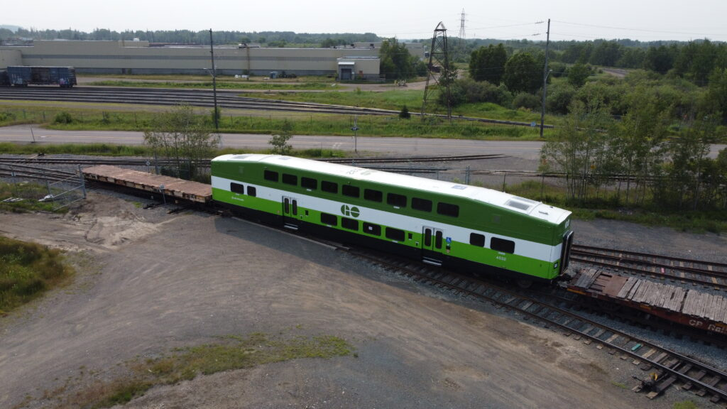 The last of 36 new Canadian-made GO train coaches sitting at Alstom's plant in Thunder Bay.