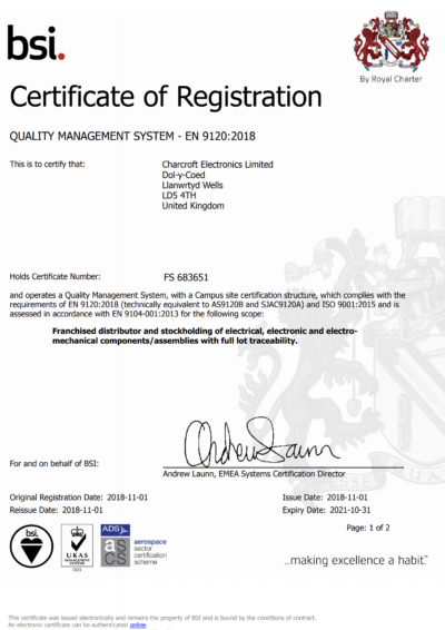 Charcroft Electronics Achieves AS9120 Certification!
