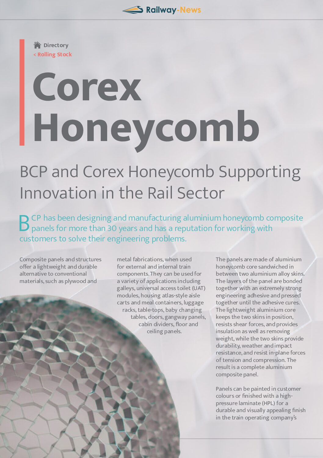 BCP and Corex Honeycomb Supporting Innovation in the Rail Sector