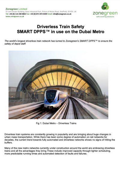 Driverless Train Safety SMART DPPS™ in Use on the Dubai Metro