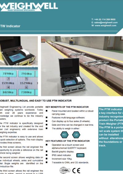 PTW Indicator for Train Weighing