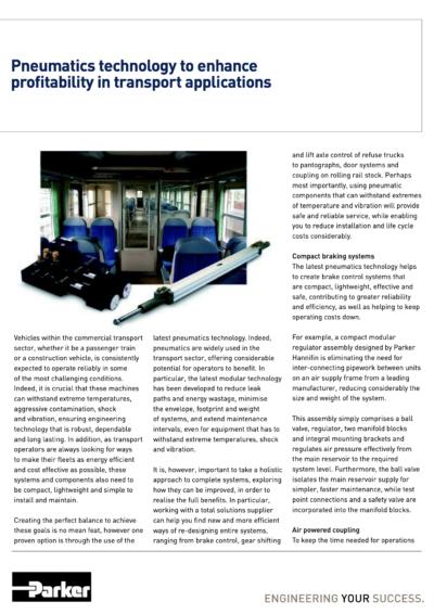Pneumatics Technology to Enhance Profitability in Transport Applications