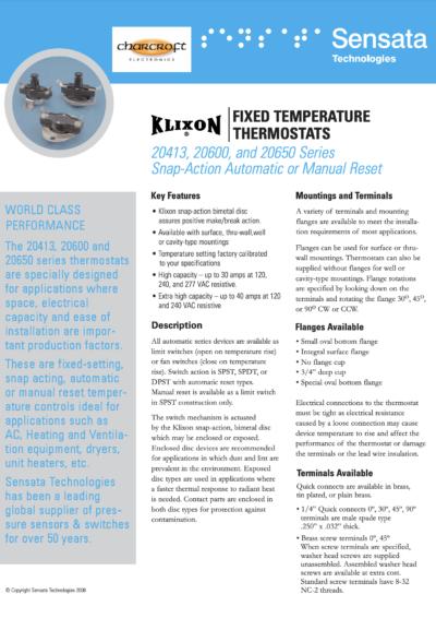 Sensata Klixon Fixed Temperature Thermostats