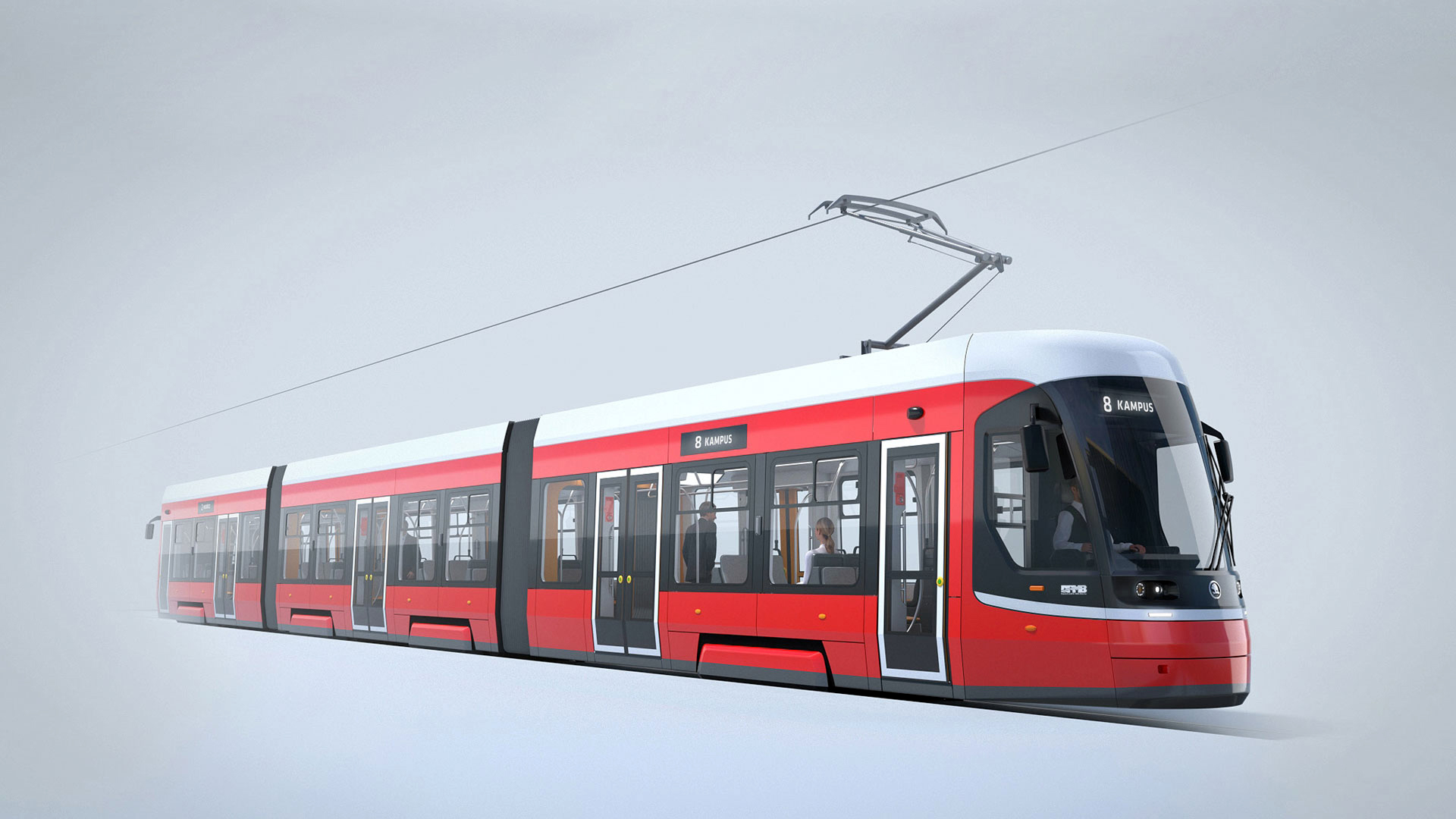 Rendering of the tram for Brno